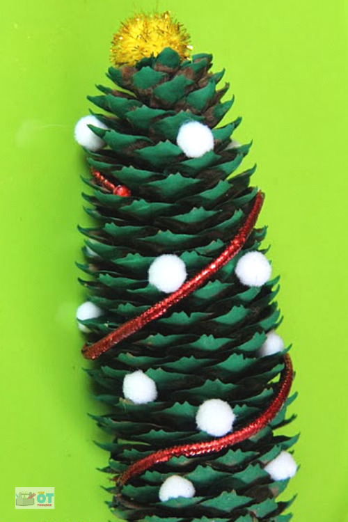 Pine cone Christmas tree craft for kids