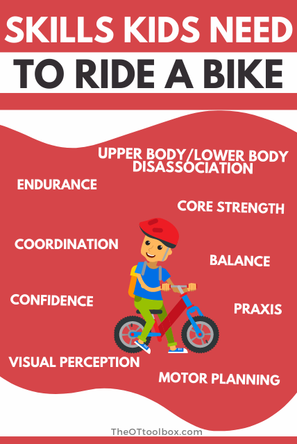 There are many skills that kids need to ride a bike. Use these therapy tips to help teach bike riding.