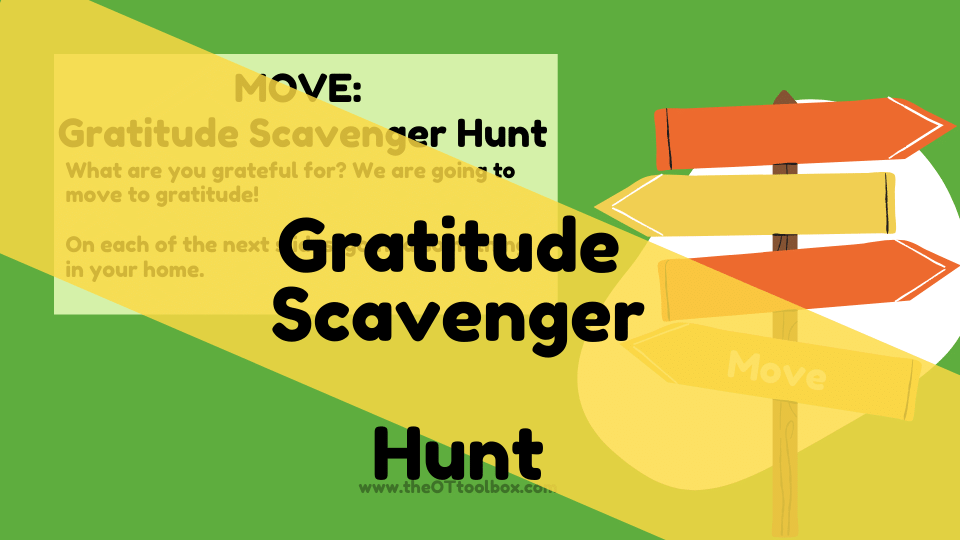 Love this gratitude scavenger hunt as a gross motor activity to teach gratitude to kids.
