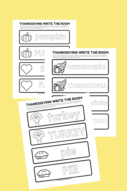 Thanksgiving write the room activities
