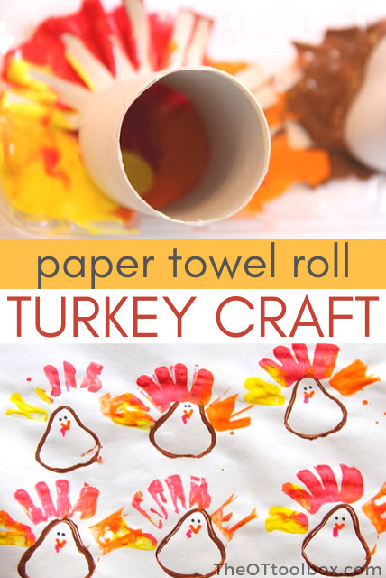 Paper towel roll turkey craft for kids to make with a recycled cardboard tube.