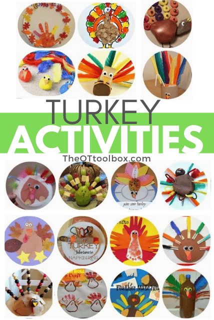 Turkey activities for kids at Thanksgiving, and great Thanksgiving occupational therapy activities.