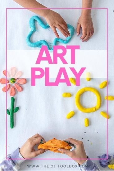 Art play combines play and art so children can develop skills through creating art in play.