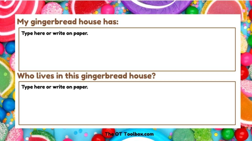 Gingerbread house writing prompts are in this decorate a  gingerbread house activity.