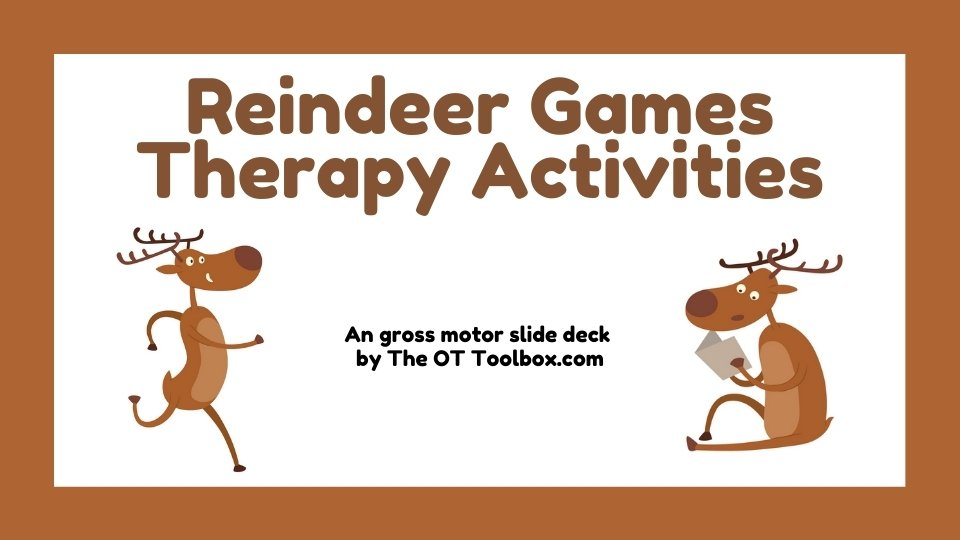 Kids can use these reindeer games in teletherapy gross motor activities.