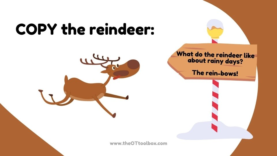 Use this gross motor teletherapy slide deck with a reindeer theme for Christmas gross motor activities.
