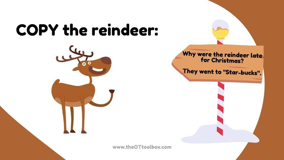 Use these Christmas gross motor activities with a reindeer theme in teletherapy movement activities.