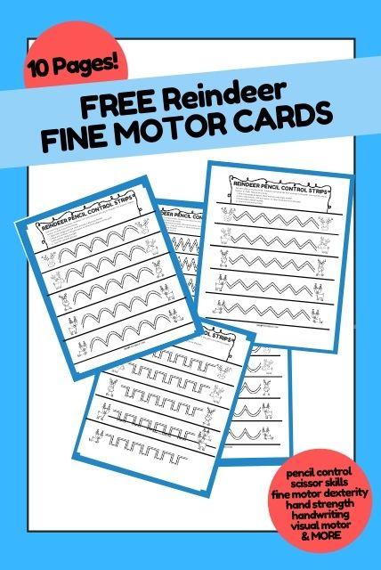 reindeer fine motor cards for kids