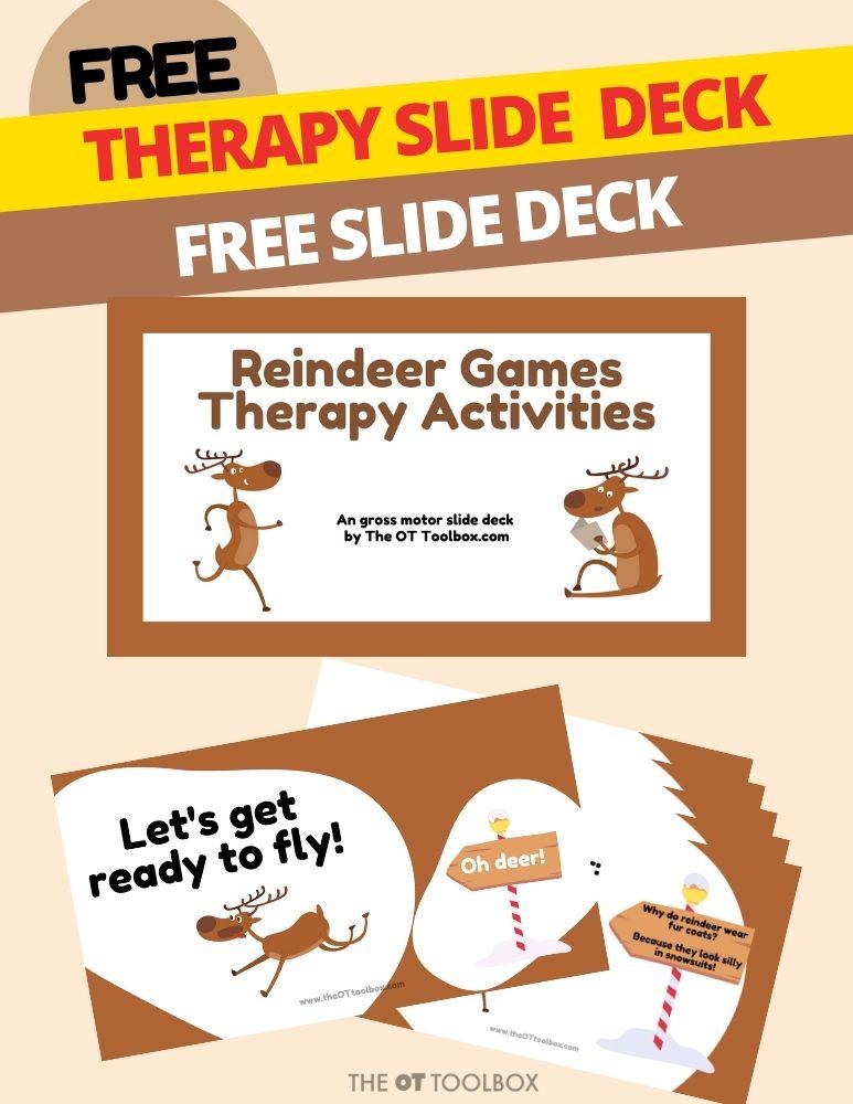 Reindeer games activities for kids in a gross motor teletherapy slide deck.