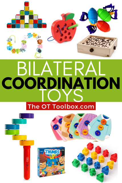 Bilateral coordination toys for kids to develop coordination of both sides of the body.