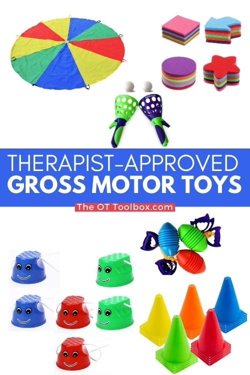 Gross motor toys to help kids develop skills in running, hopping, jumping, skipping, crawling, and more.