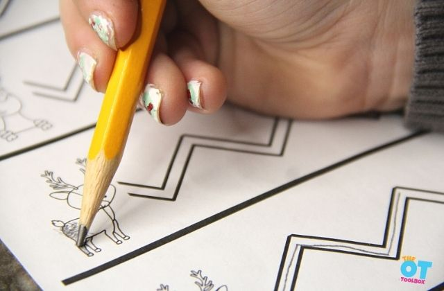 Pencil control and pencil pressure with coloring a reindeer on these free fine motor printables.