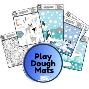 winter fine motor play dough mats