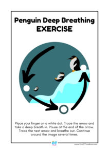 deep breathing exercise with a penguin theme
