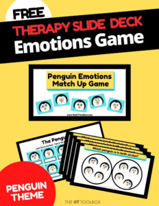 Emotions game for social emotional development with a penguin theme
