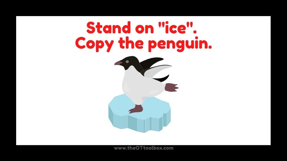 Penguin yoga exercises for brain breaks for kids