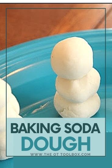 Baking soda dough and soda dough snowmen to help kids build fine motor skills.