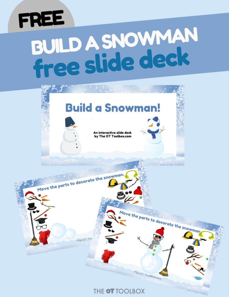 Build a snowman activity with a virtual Google slide deck for teletherapy