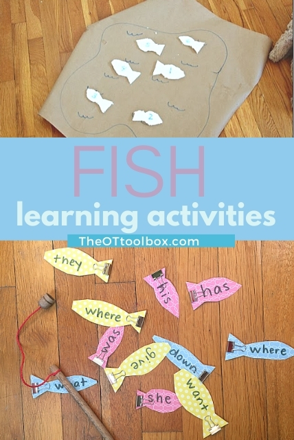 Use these fish learning activities to work on sight words, math, letter identification, or spelling words with whole body learning.