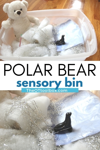 Use a polar bear sensory bin for occupational therapy interventions