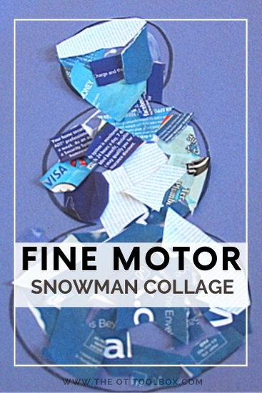 Fine motor snowman collage using junk mail to help kids with motor skills and visual motor skills.