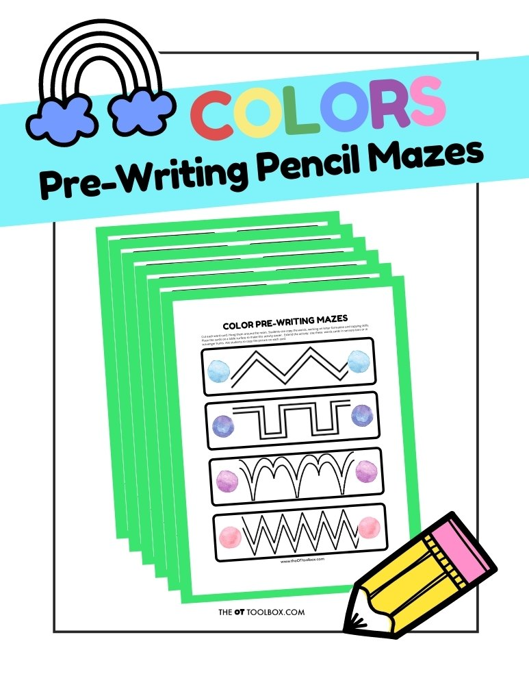 Colors Pre-Writing Pencil Mazes