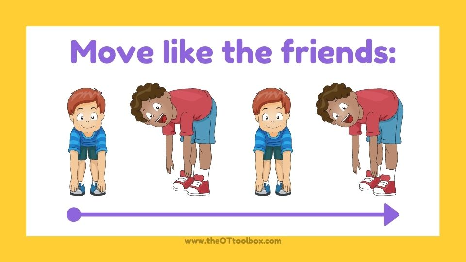 Friendship skills gross motor activity for body awareness and personal space awareness.