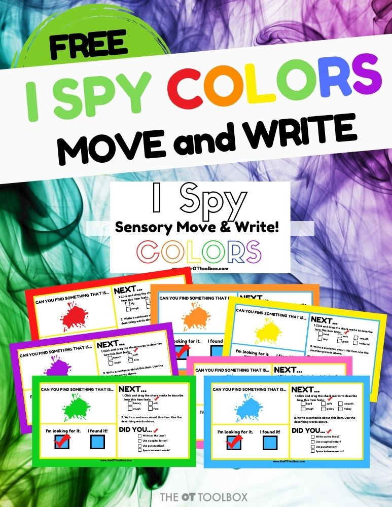 I Spy colors therapy activity for teletherapy. This is a color scavenger hunt for kids.