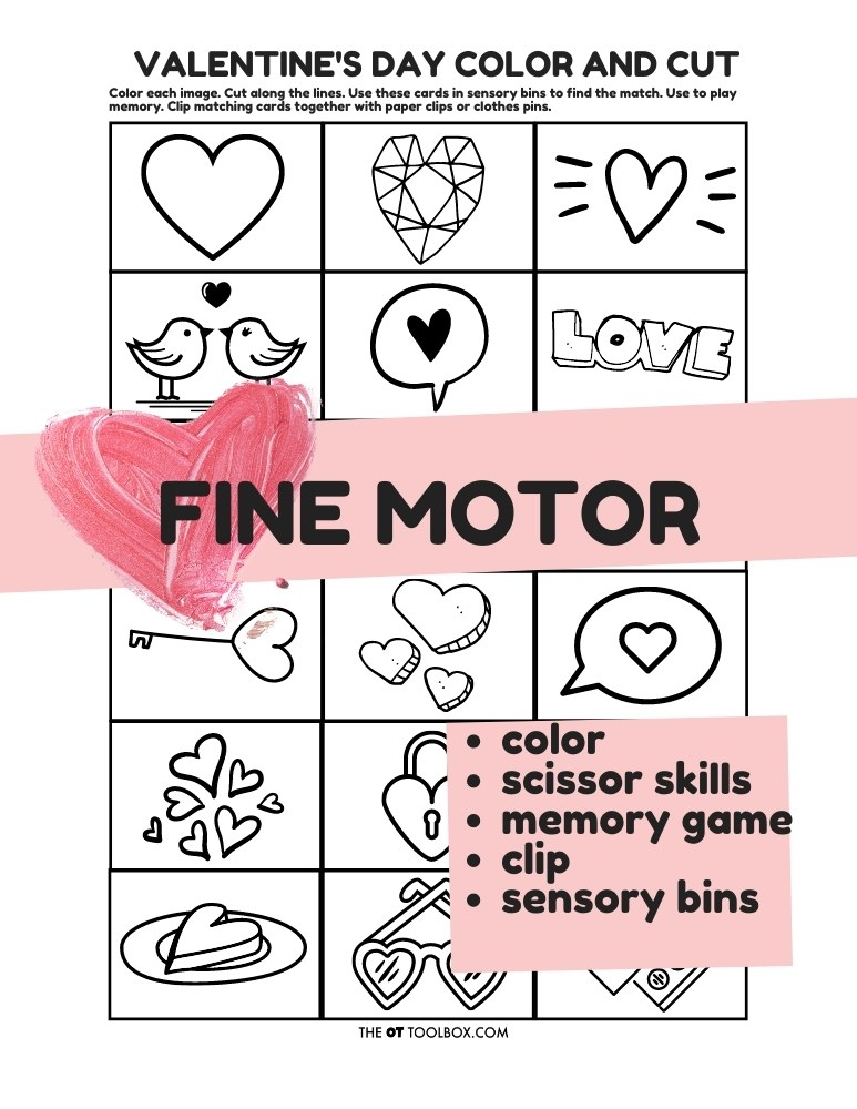 Valentines Day memory cards, color and cut activity and fine motor sheet