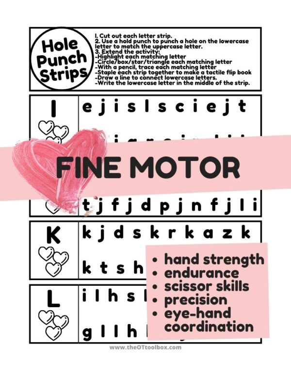 Heart theme hole punch strips to help with upper and lowercase letter identification and hand strength