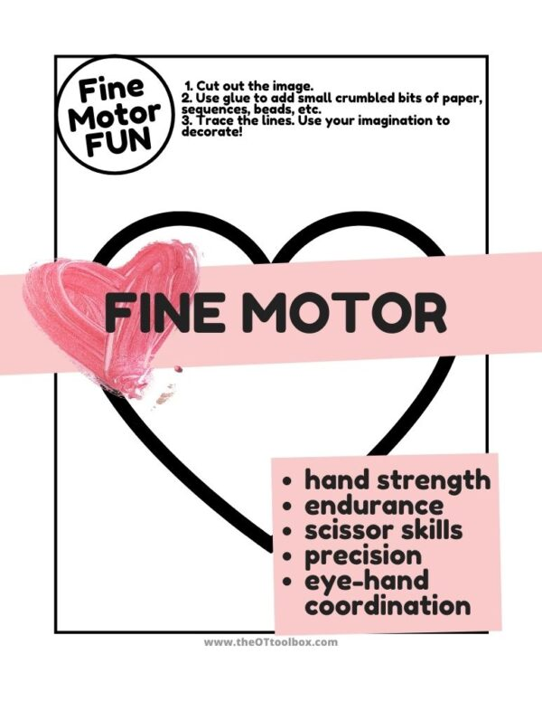 heart and Valentine themed fine motor page to use in crumble art crafts