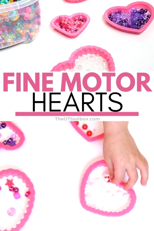 Valentine's Day busy bag with fine motor heart activity using cookie cutters and beads.