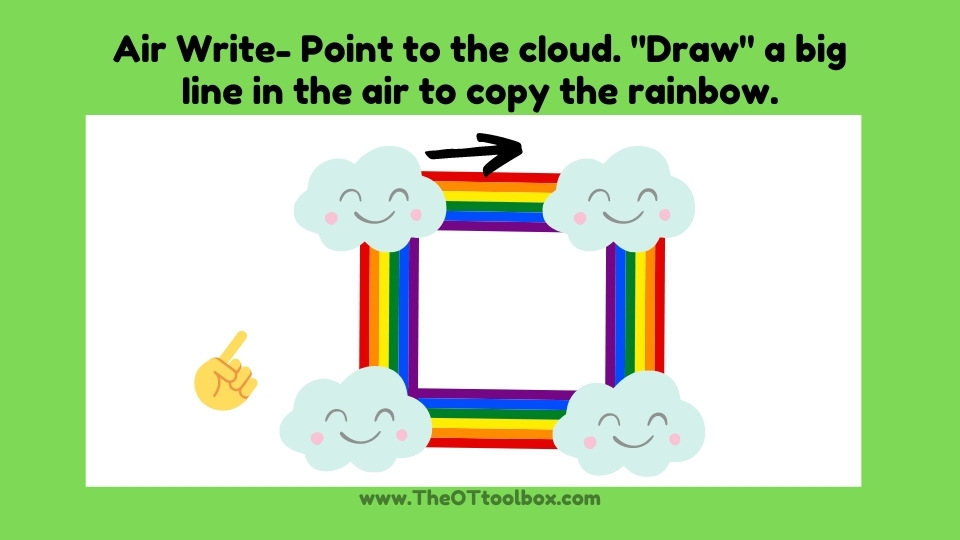 teach prewriting lines to kids with a rainbow theme