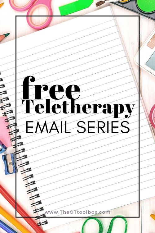 Teletherapy with kids free email course that offers resources and tools for occupational therapists offering online therapy services.