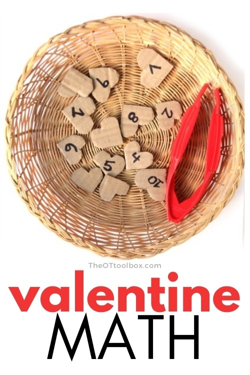 Valentine's Day math activity to help kids with hand eye coordination and math concepts with a heart theme.