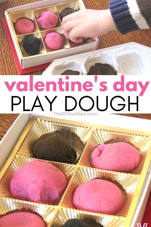 Valentine's Day Playdough activity to help kids strengthen fine motor skills.
