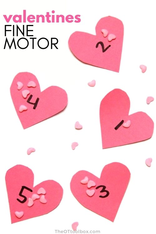 Valentine fine motor can require just paper hearts and sprinkles to encourage kids to develop fine motor precision skills.