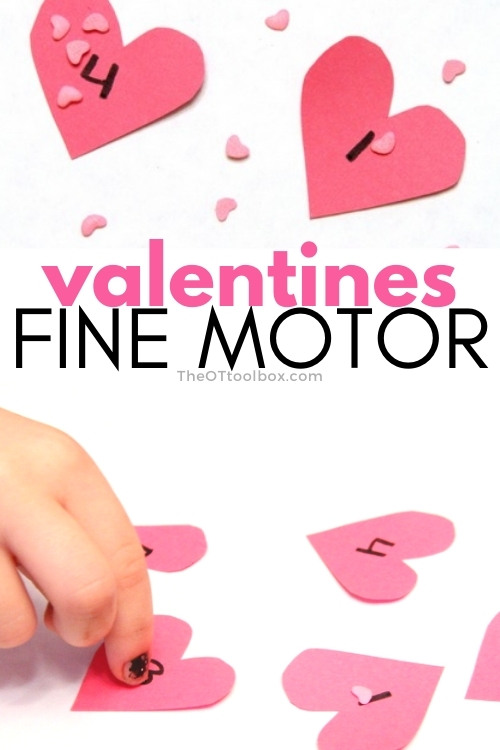 Valentines fine motor activities like this heart math activity help kids develop fine motor skills and a tripod grasp.