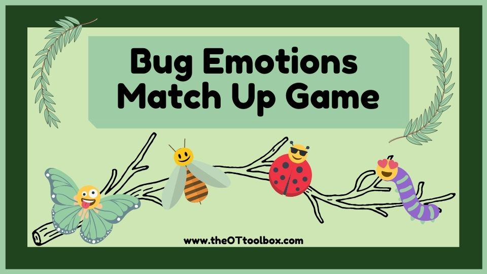 Spring bugs emotions matching game for teaching feelings
