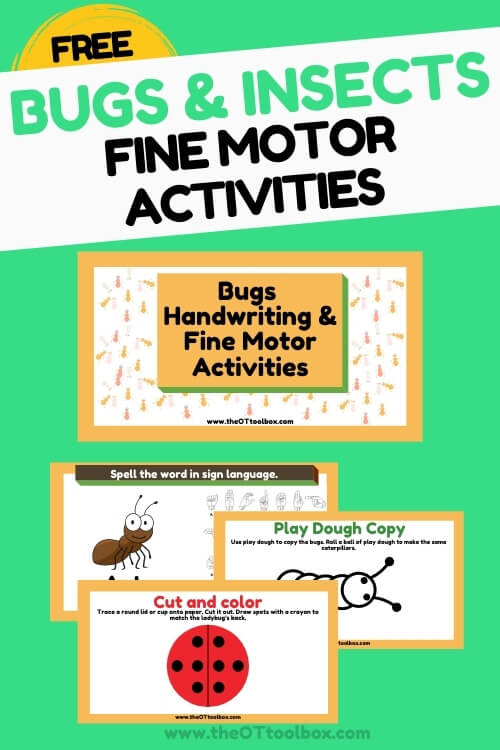 Bug and insect fine motor activities for occupational therapy sessions.