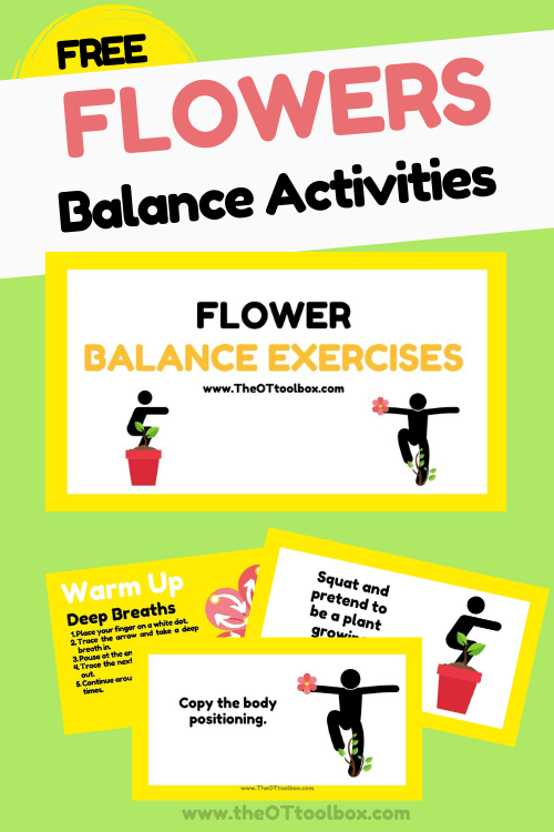 Balance activities slide deck with a flower theme to use in teletherapy sessions.