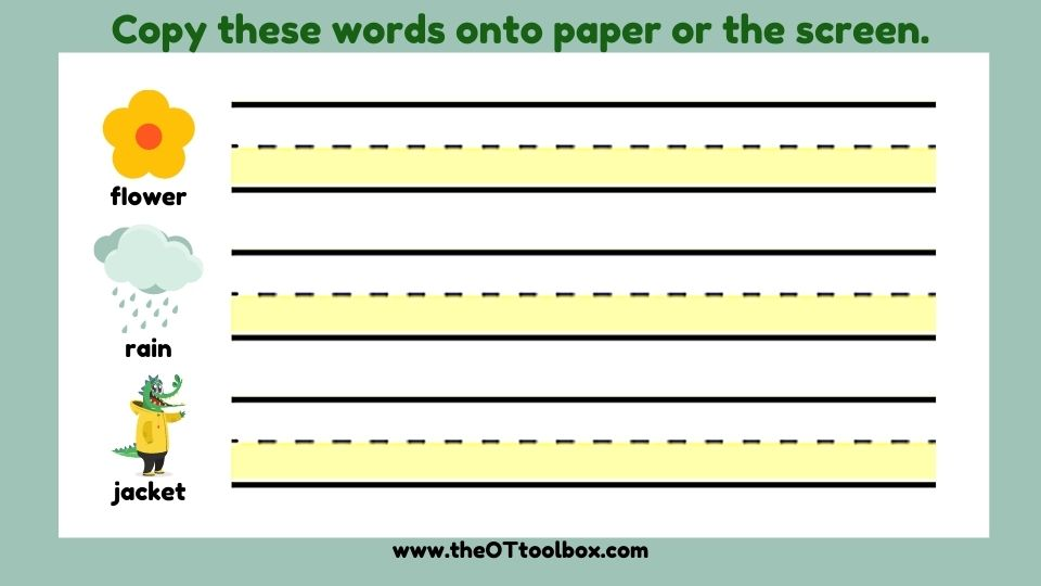 Spring write the room activity for teletherapy and virtual sessions and working on handwriting.