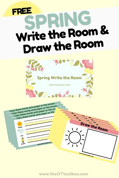 Spring write the room activity for handwriting