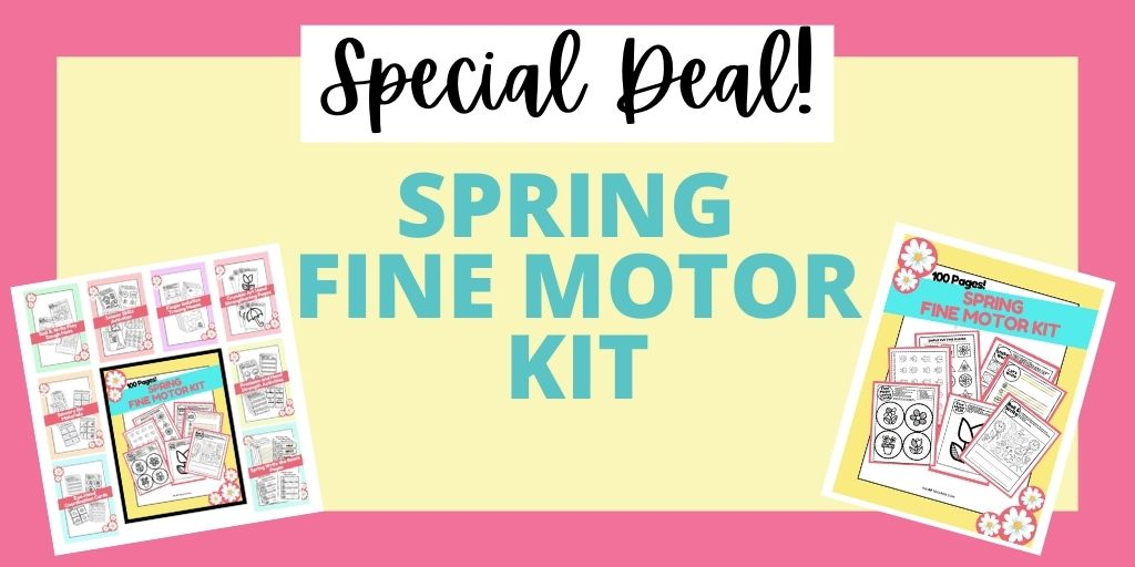 Spring fine motor kit set of printable fine motor skills worksheets for kids.