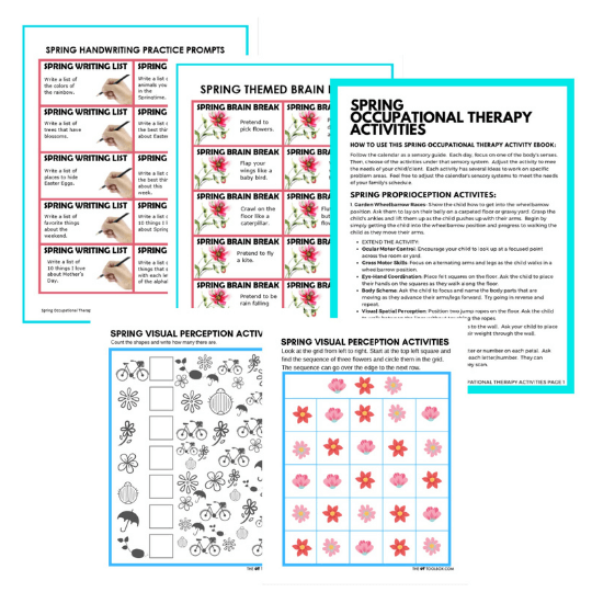 Spring occupational therapy packet printable materials