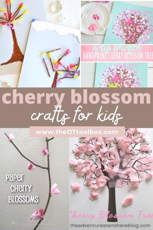 Cherry blossom crafts for kids that develop skills, use in occupational therapy interventions or at home to help kids develop motor skills.