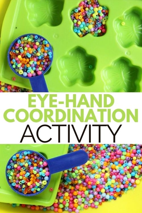 Eye hand coordination activity to help kids with refined motor coordination skills.