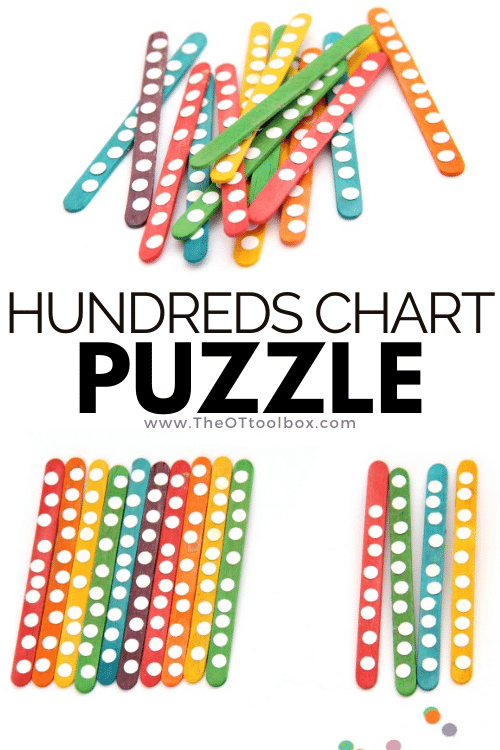Make this hundreds chart puzzle with rainbow popsicle sticks for multisensory math and hands on learning for kids.