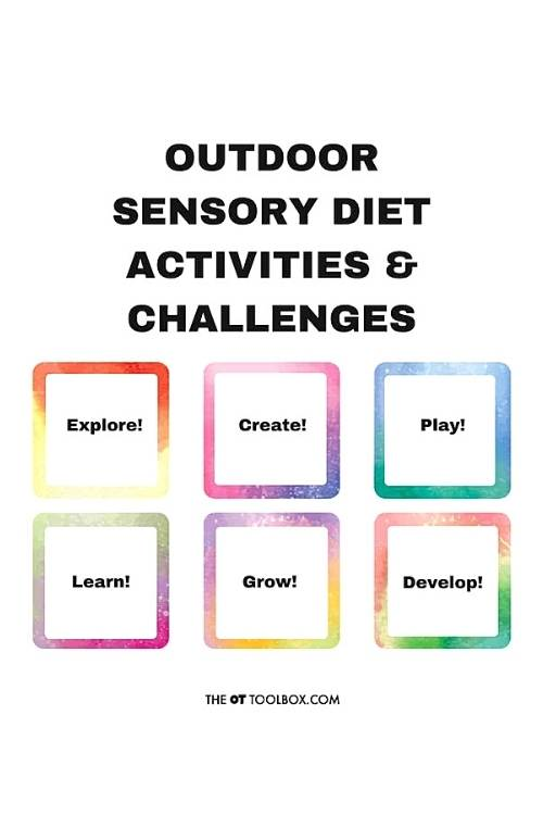 Outdoor sensory diet cards for families