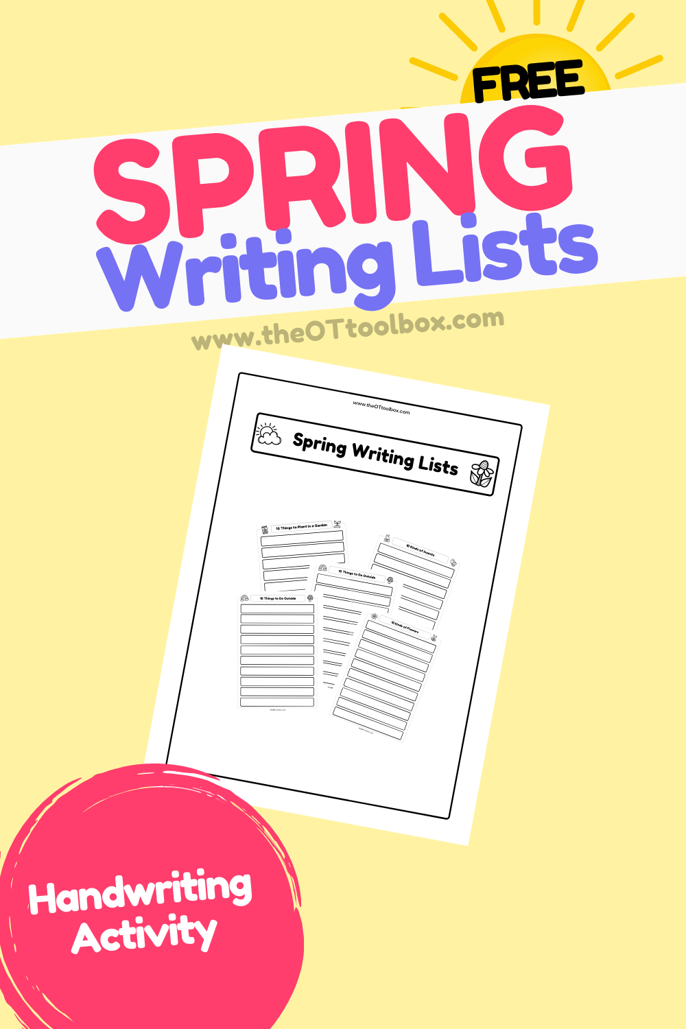 Spring Writing Lists worksheets